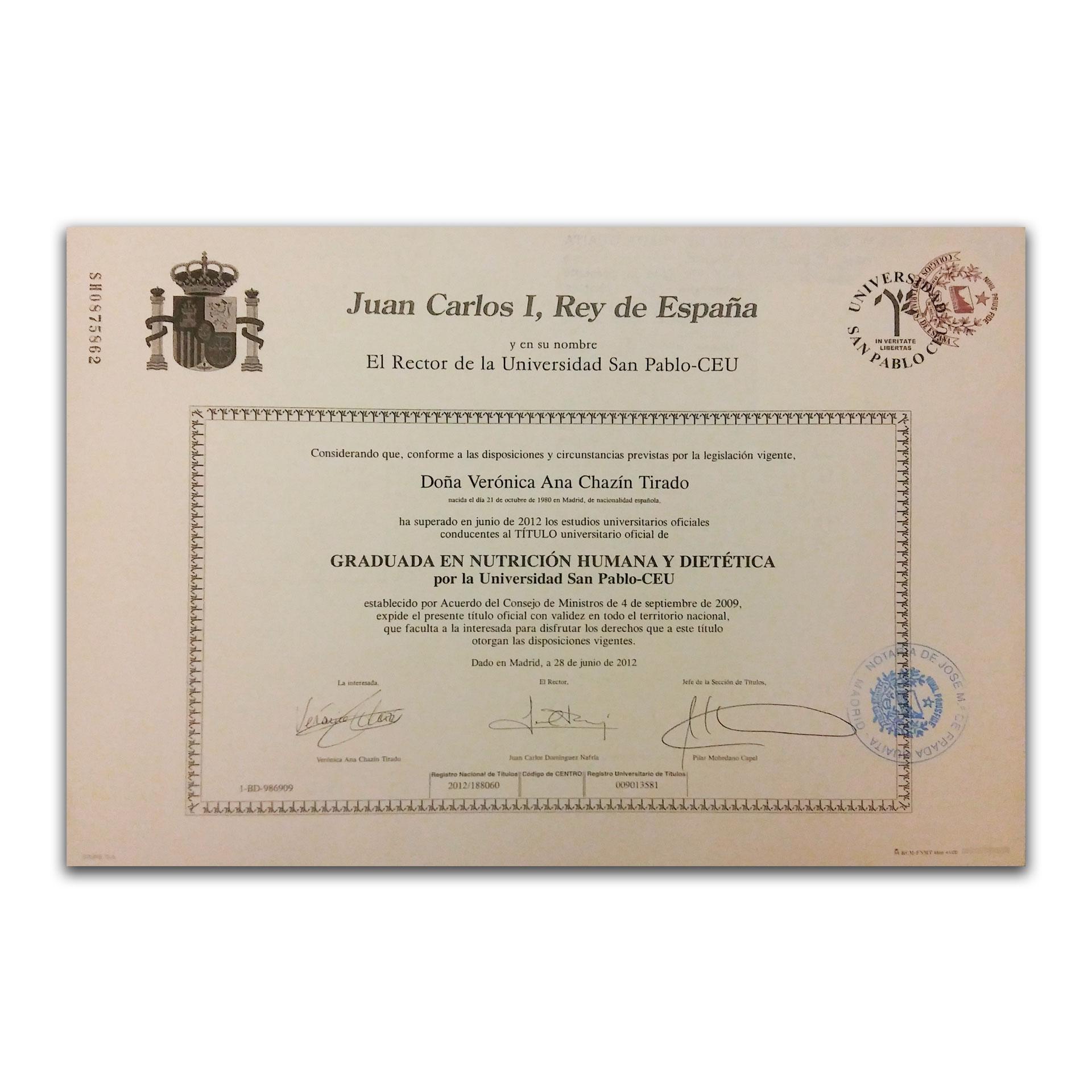 Diploma graduada en Nutrición Humana y Dietética. USP-CEU