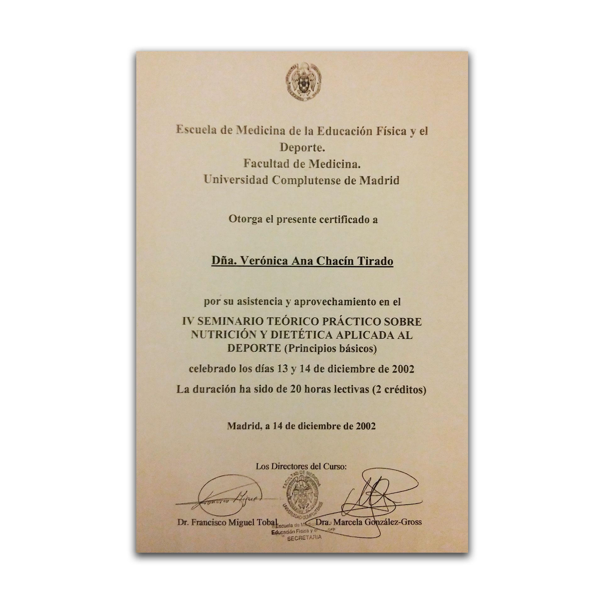 Diploma IV Seminario sobre Nutrición y Dietética aplicada al Deporte. UCM