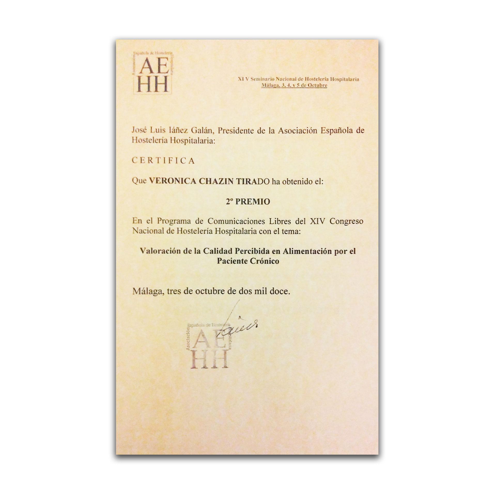 2º Premio XIV Congreso Nacional de Hostelería Hospitalaria. AEHH