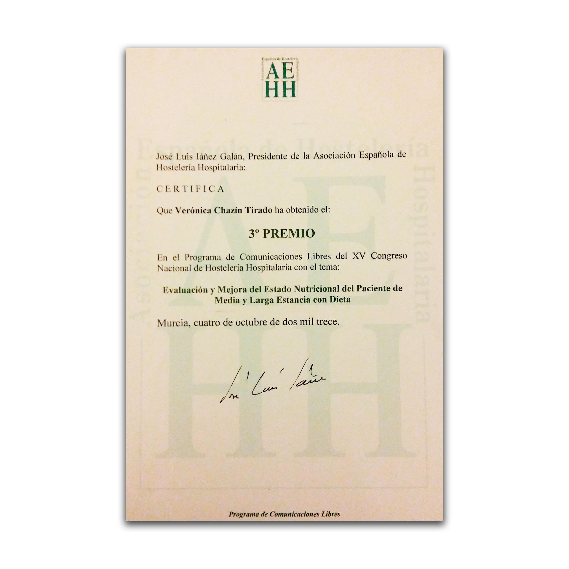 3º Premio XV Congreso Nacional de Hostelería Hospitalaria. AEHH